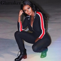 Glamaker Casual Fitness Women Jumpsuit Romper Stripe Bodycon Sexy Jumpsuit Overalls Streetwear Party Skinny Playsuit Combine