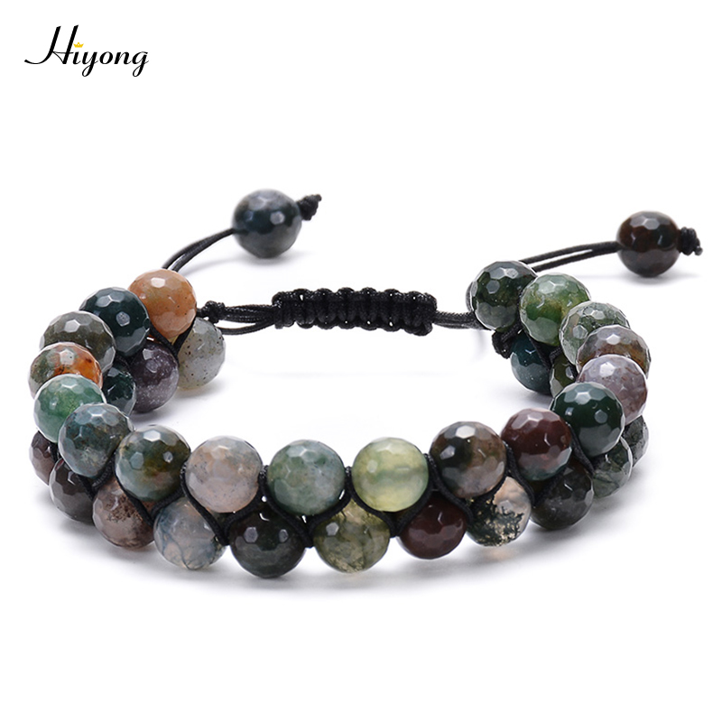 8mm Natural Healing Stone Beads Bracelet Double Layered Indian Agates Beads Bracelets Adjustable Meditation Bracelet for Couples in Strand Bracelets from Jewelry Accessories