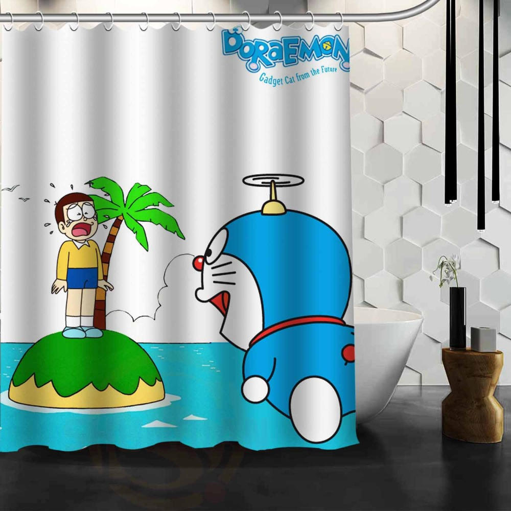 Doraemon printed good for bathroom decorative shower curtain ...