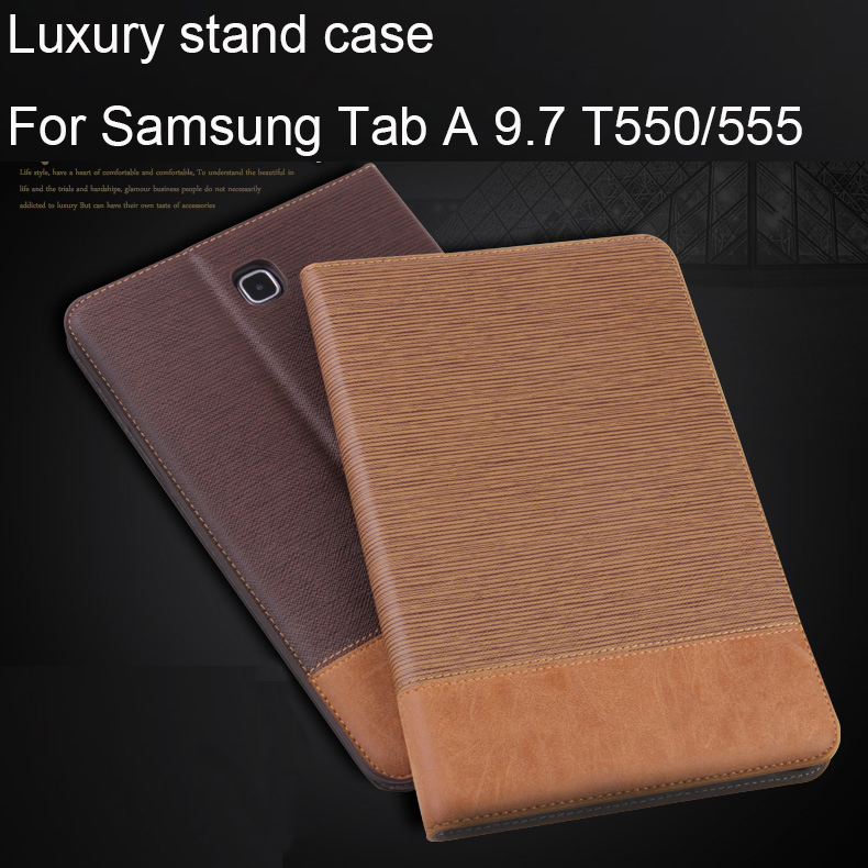 Business Patchwork PU Leather Case for Samsung Galaxy Tab A 9.7 T550 T555 P550 P555 Tablet Support stand Cover with Card Solts bf luxury painted cartoon flip pu leather stand tablet case for funda samsung galaxy tab a 9 7 t555c t550 sm t555