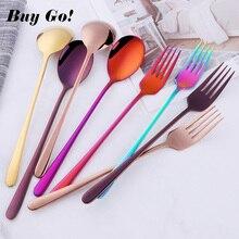Fork-Set Dinnerware-Spoon-Set Kitchen Utensils Rainbow Stainless-Steel Soup-Spoon Long-Handle