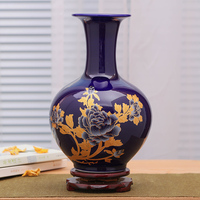 Jingdezhen Porcelain Vase Decoration Living Room Blue Peony Flower Glazed Modern Chinese Porcelain Vase Home Decoration Articles
