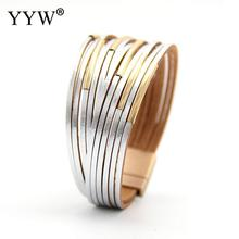 YYW 7 Color Multilayer Casing Bracelet For Women Wrap Bracelets Gift Accessories Fashion Jewelry Leather Alloy Charm Round цена