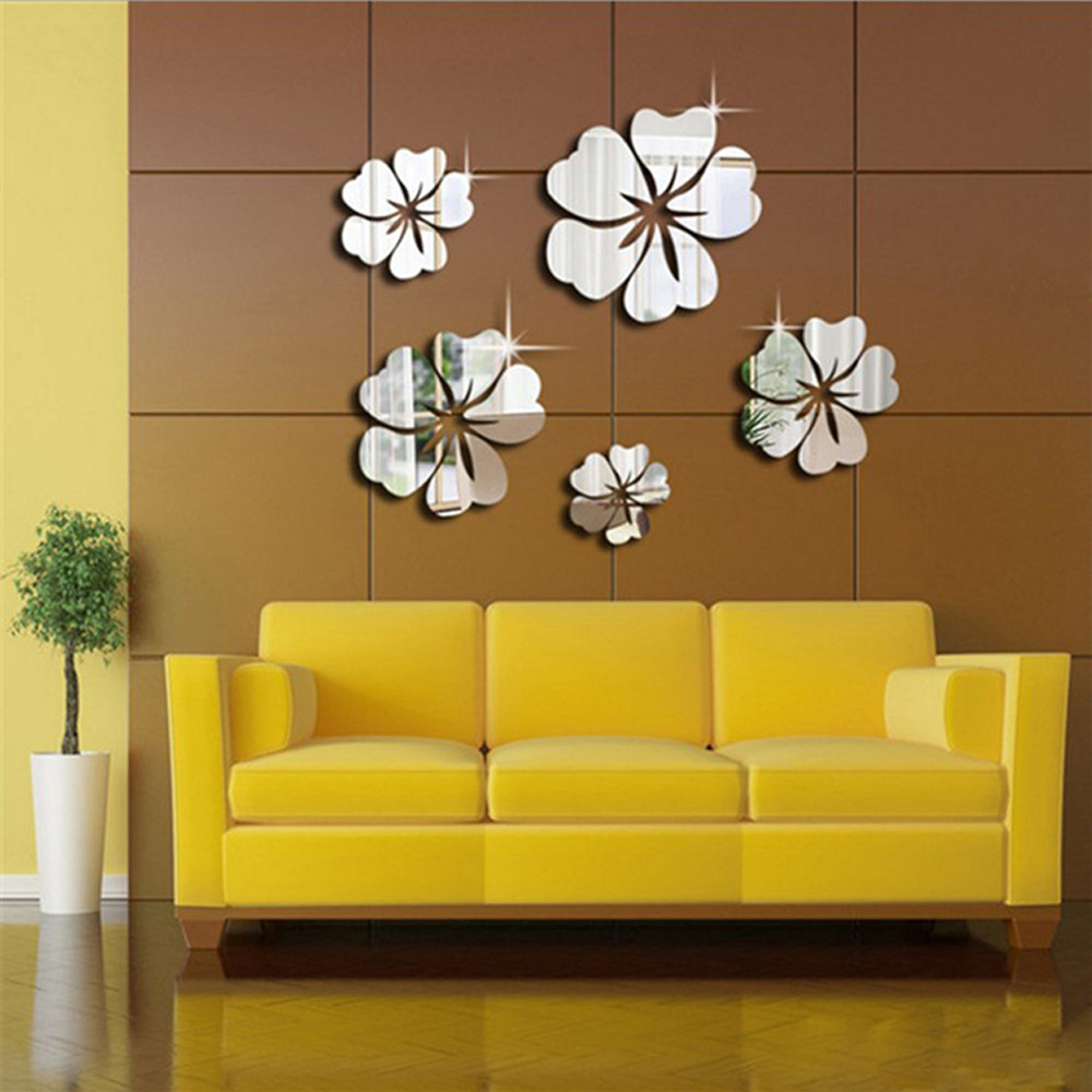 2018 NEW 3D Mirror Floral Art Removable Wall Sticker Acrylic Mural ...