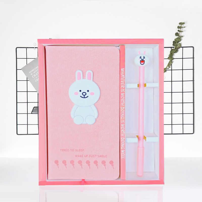Nieuwe Collectie Leuke Roze Twee Flamingo Notebook gel pen set met doos Dagboek Wekelijkse Planner School Kantoor Kawaii Briefpapier
