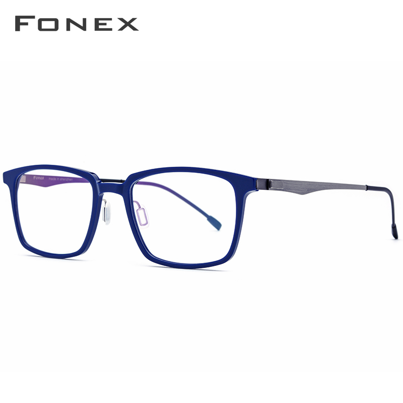 Image 3 - FONEX Acetate Optical Glasses Frame Men Square Prescription Eyeglasses 2019 Commerce Myopia Spectacles Male Screwless Eyewear-in Men's Eyewear Frames from Apparel Accessories