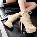 2015 otoño diseñador de la marca plataforma cordón atractivo de tacón alto Martin botas de invierno mujeres grandes del tamaño 34-43