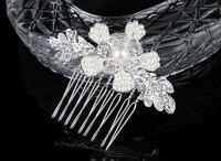 New 2014 Bridal Hair Comb Handmade Rhinestone Pearl Beaded Flower Jewelry Wedding Hair Accessories Headpiece For