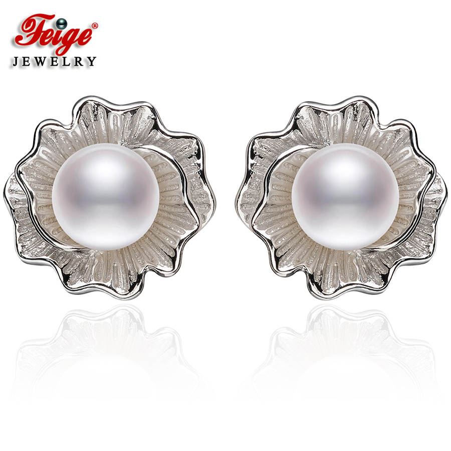 Feige High Quality 78mm White Freshwater Pearl Earrings Genuine 925  Sterling Silver Earring Female Pearl Jewelry Pendientes