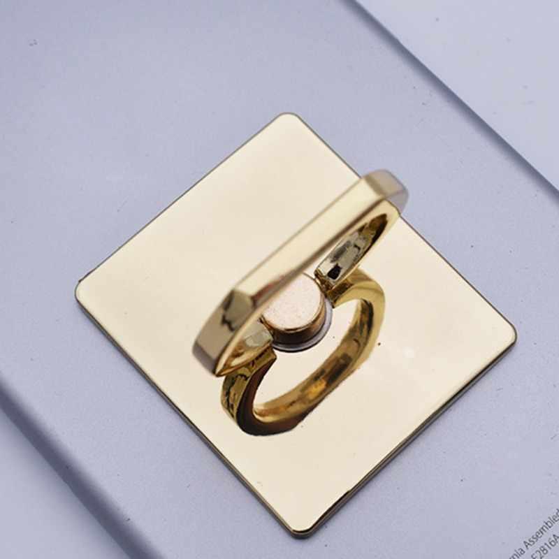HOT Rose-GOLD ชุบโลหะสแควร์นิ้วมือแหวนวงเล็บโทรศัพท์มือถือผู้ถือยึดรถแม่เหล็กอุปกรณ์เสริม