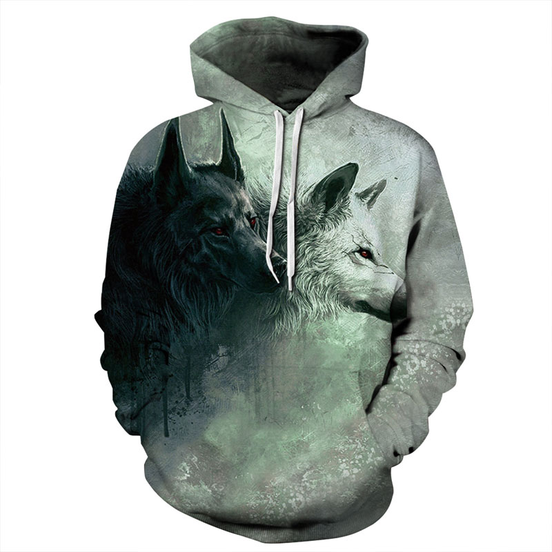Mr.1991INC New Fashion Wolf Hoodies Men/women 3d Sweatshirts Print Double Wolf Thin Hoody Hooded Hoodies Tracksuits Tops