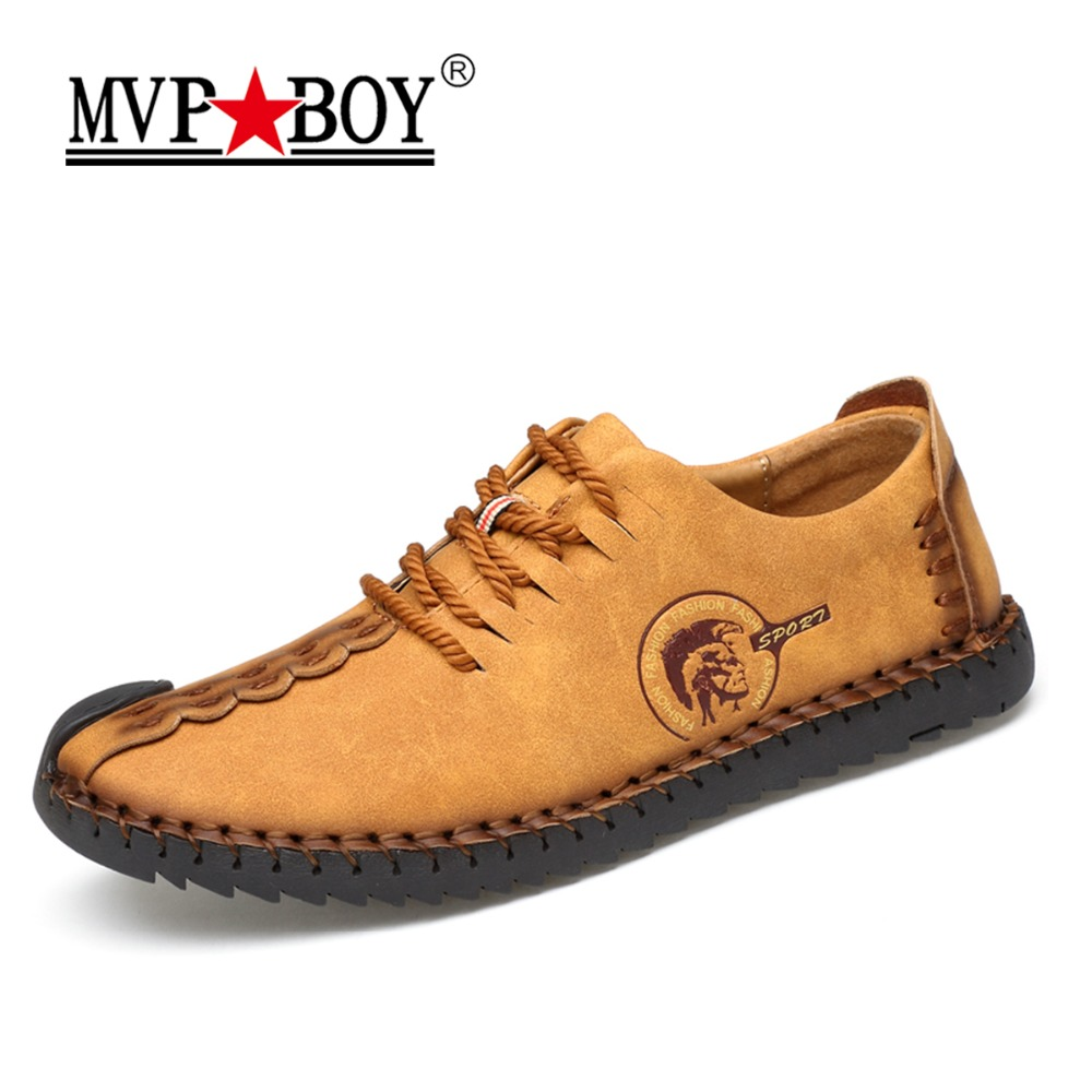 MVP BOY 2018 New Comfortable Casual Shoes Loafers Men Shoes Quality Split Leather Shoes Men Flats Hot Sale Moccasins Shoes top brand high quality genuine leather casual men shoes cow suede comfortable loafers soft breathable shoes men flats warm
