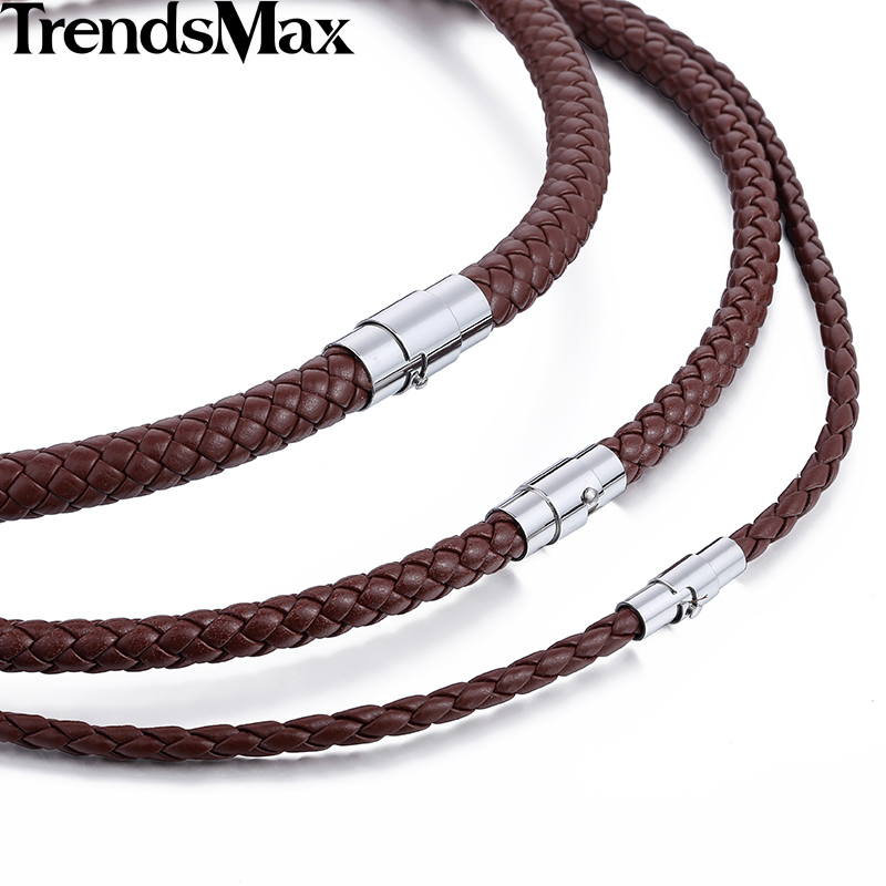 Trendsmax Men Leather Necklaces Choker Bs