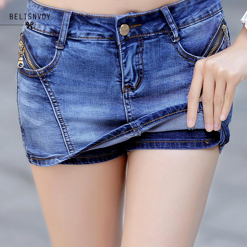 Women Denim Skorts Skirt Summer 2018 New Korean Style Blue   Short   Jeans Feminino With Zipper Slim Sexy Woman Mini Skirt   Shorts