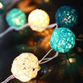 5m 20 Christmas Lights Outdoor LED String Fairy Lights Blue White Sepak Takraw Rattan Balls Wedding Party Decoration Lights