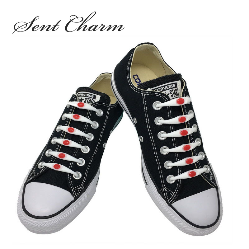 SENTCHARM White And Red New Arrival Silicone Shoelaces For Adult And Kids Waterproof Utility Fit Strap For Shoes