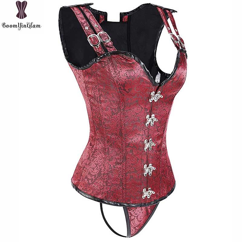Steampunk Corset Spiral Steel Boned Korsett For Women Sexy Red Black Jacket Gothic Gorset Jacquard Floral Waist Slimming Bustier 1