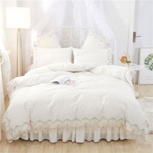 New Korean Dream Princess style White Pink Purple Red Green Girl Bedding Set Duvet Cover Lace Bed Skirt Sheet Pillowcases