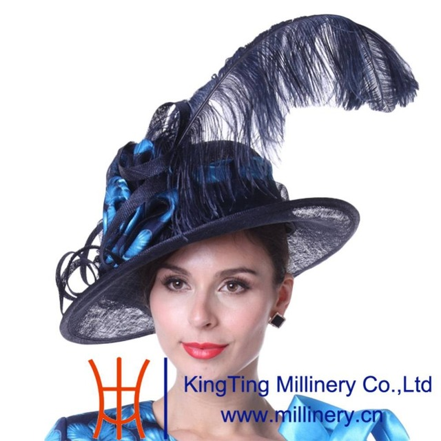 8b9984c5f7f Kueeni Women Hat Wedding Hats White Formal Hats Elegant New Big Brim Large  Size Feathers High Noble Special Designer Wedding Hat