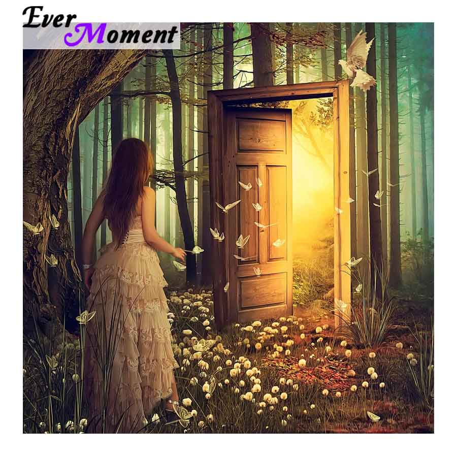 Ever Moment Diamond Painting Fantasy Beautiful Girl Shining Door Butterfly New Diamond Paintings 5D Embroidery Full ASF851