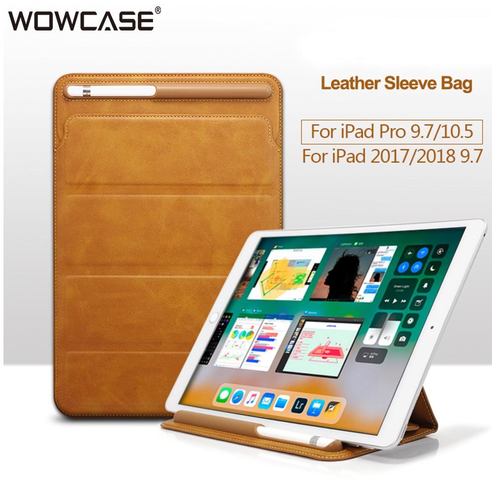 Cas de Manches en cuir Pour iPad 2018 9.7 Pro 10.5 Air 2, universal Sac Pochette De Luxe Cover Tri-pliage Avec Porte-Crayon Cas Coque