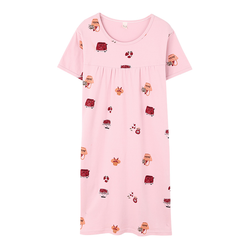 Middle-aged lady flower nightdress summer cotton   nightgowns   &   sleepshirts   plus size M-3XL short sleeve sleepwear for women