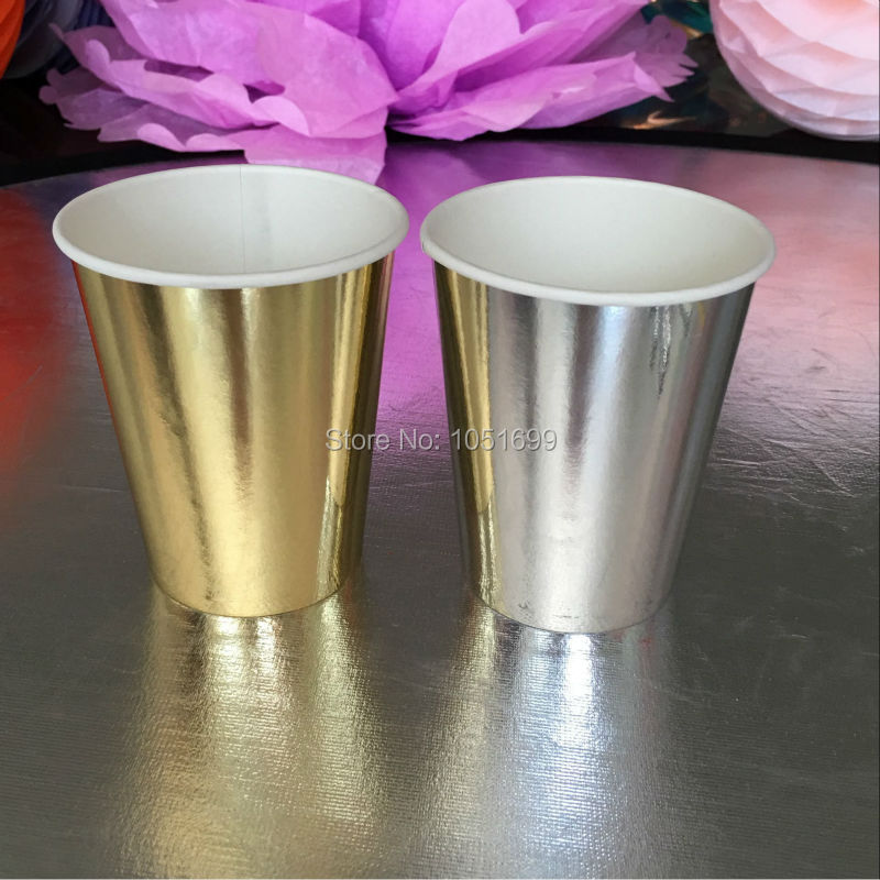 Free Shipping!!! New Arrival Party Supplies <font><b>9</b></font> oz Foil Gold/<font><b>Silver</b></font> <font><b>Paper</b></font> <font><b>Cups</b></font> for Wedding Birthday Party