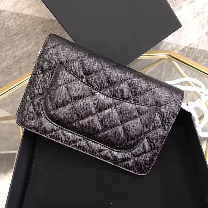 Women original caviar leather handbags luxury designer bags shoulder bags classic metal chain brands mini bag messenger bags WOC elishacoy caviar
