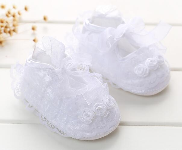 Girls Baby SOFT Sole Ribbon Lace Christening Wedding Pram Trainers Shoes Size
