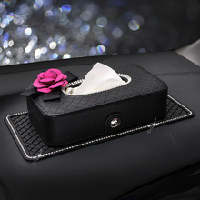 Crystal Car Tissue Box Camellia Flower PU Leather Auto Tissue Bag Seat Back Head