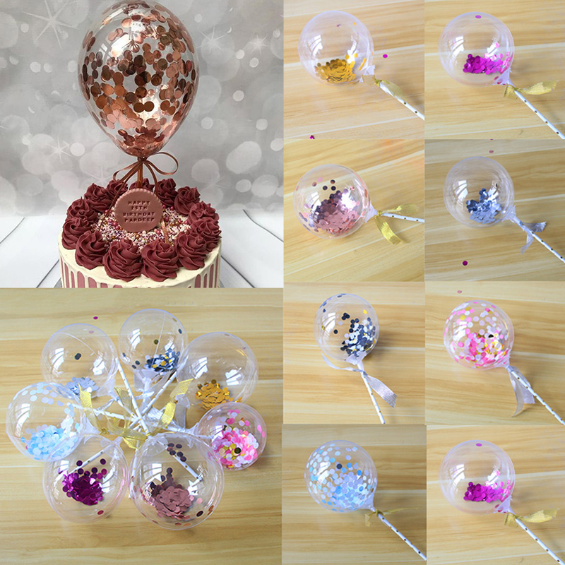5inch Confetti Balloons Cake Topper Rose Gold Party Cake ...