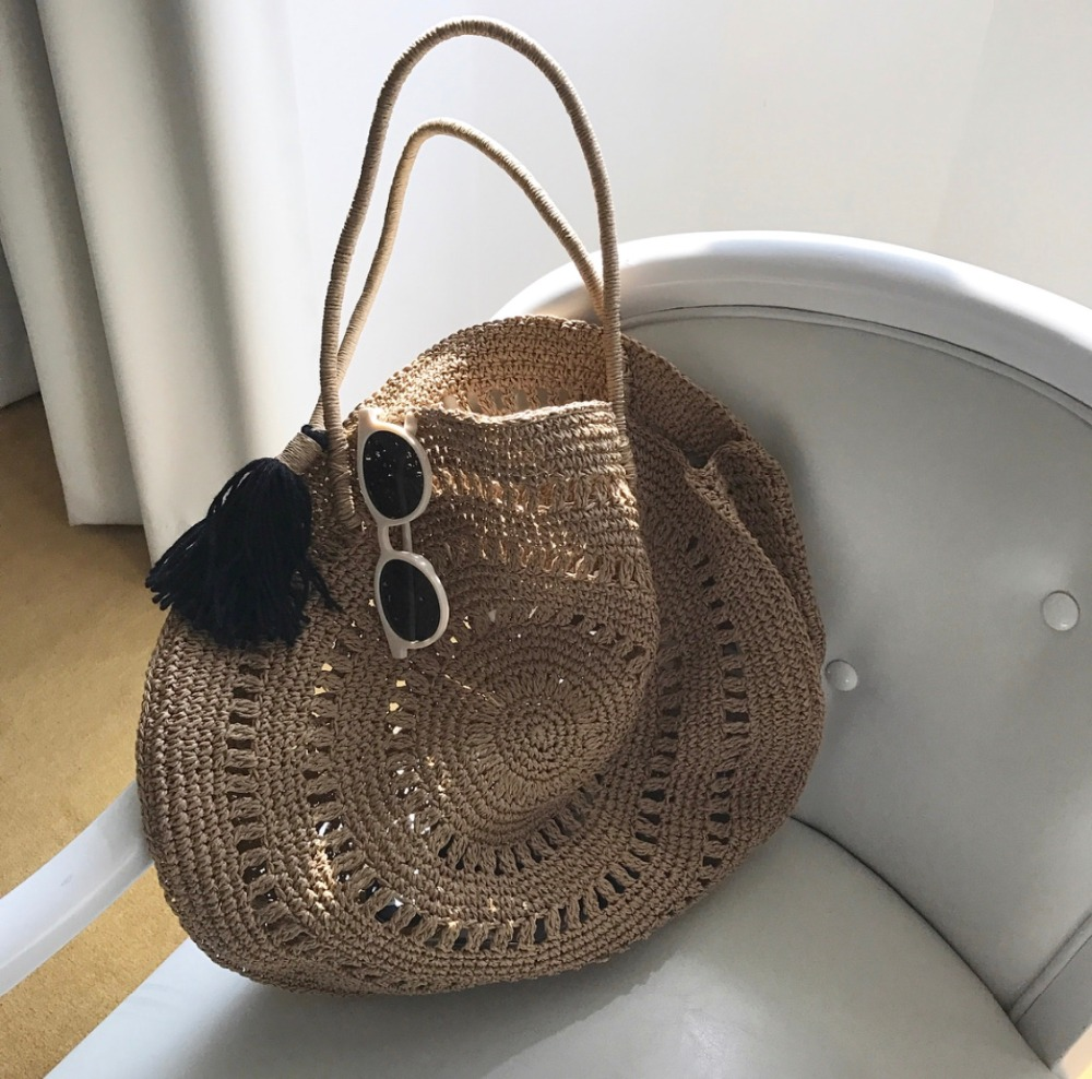 Shoulder Bags Women's Bags Symbol Of The Brand Hand Nets Woven Bag Womens Bag 2019 New Style Straw Bags Holiday Beach Bag Summer Knit Bag Large Capacity Soft Southeast Asia