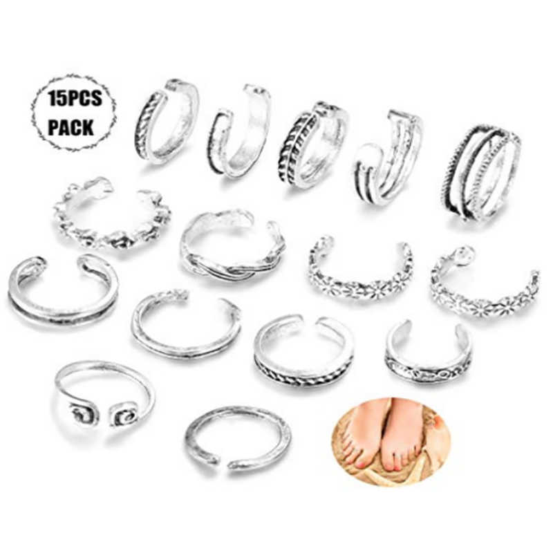 15Pcs/Set Vintage Open Foot Ring Set for Women Antique Silver Color Geometric rose leaf openwork ring Summer Beach Jewelry