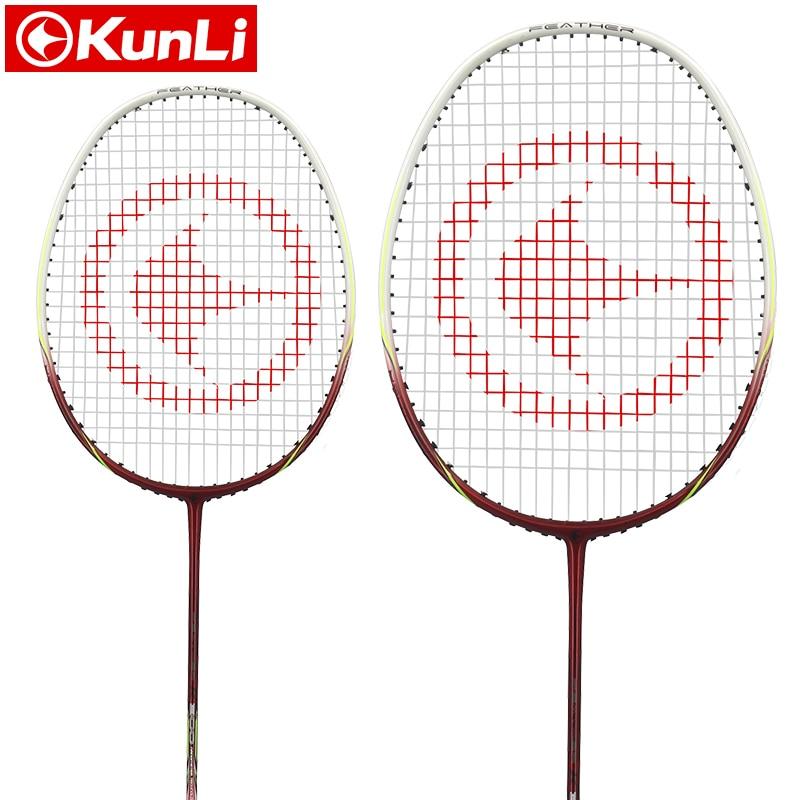 Raquette de badminton officielle KUNLI originale 4U plume K300 raquette d'attaque Ultra légère en carbone raquette de plume professionnelle