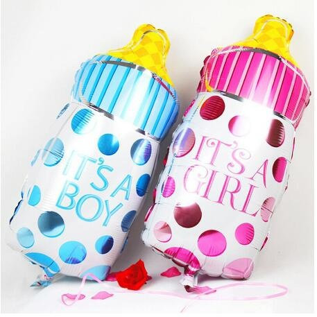Its A Boy or Its A Girl Baby Nursing Milk Feeding Bottle Foil Balloons for Birthday Party Decoration Happy Record