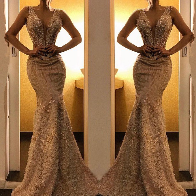 Sexy Deep V-Neck Long Mermaid   Prom     Dresses   2019 Elegant Flowers Appliques Evening   Dresses   Custom Make Party   Dress   Robe De Soiree