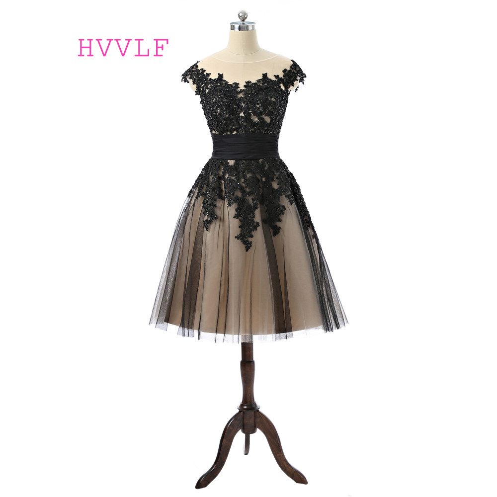 Black Prom Dress 2018 A-line Cap Sleeves Tea Length Tulle Lace Appliques Beaded Women Prom Gown Evening Dresses Robe De Soiree