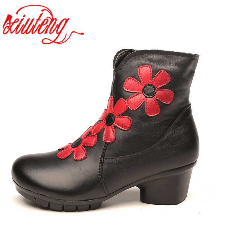 Xiuteng 2018 Hakiki Deri yarım çizmeler Kadın Kadife El Yapımı Lady yumuşak düz ayakkabı rahat Rahat Moccasins kadın ayakkabısı