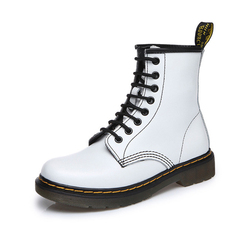 Dr Martens Boots Genuine Leather Winter / Autumn botas negras mujer Motorcycle doc martins Square heel Ankle Boots Women Shoes