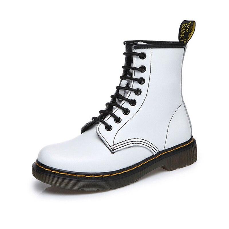 D Martens Botas dividir Couro palmilhas Dr Martin High Top Motocicleta Inverno/Outono botas Ankle Boots Mulheres negras mujer sapatos