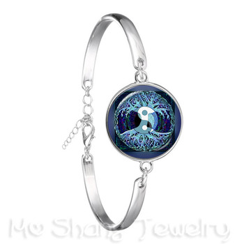 2018 Yin Yang Peace Tree of Life Glass Time Gem Bracelet Tai Chi Trendy Glass Dome Silver Plated Chain Bangle For Women Gift image