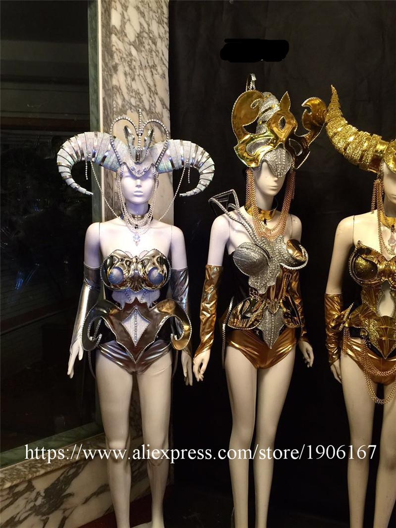 Women 12 constellations ballroom no led costumes bar dj dance singer sexy dress bra models performance show wears bra club cloth08