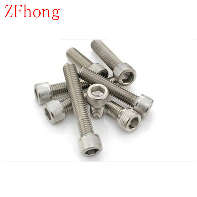 50PCS M3*5/6/8/10/12/14/16/20/25/30 DIN912 m3 stainless steel hex hexagon socket cap head screw 2pc din912 m10 x 16 20 25 30 35 40 45 50 55 60 65 screw stainless steel a2 hexagon hex socket head cap screws