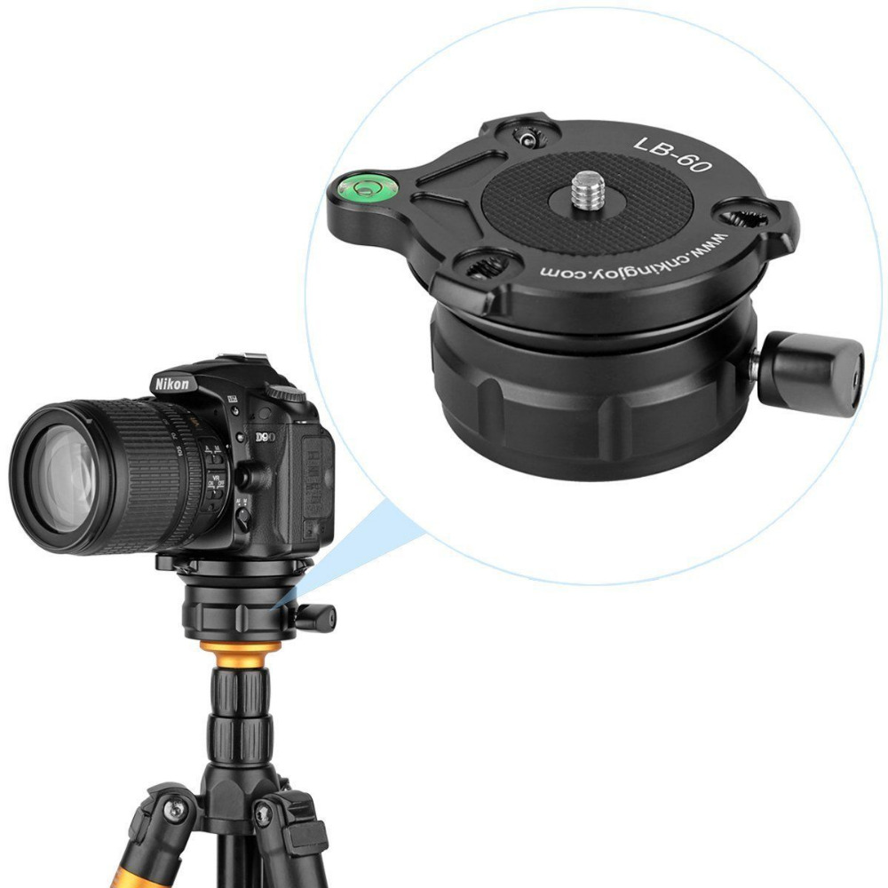 цены Professional Tripod Leveling Ball Head Base with Bubble Level for CN/NK/Other DSLR Cameras with 1/4