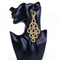 Shevalues AB Pendientes de diamantes de imitación para mujer Pendientes de gota largos Pendientes elegantes de mujer joyería para fiesta de banquete