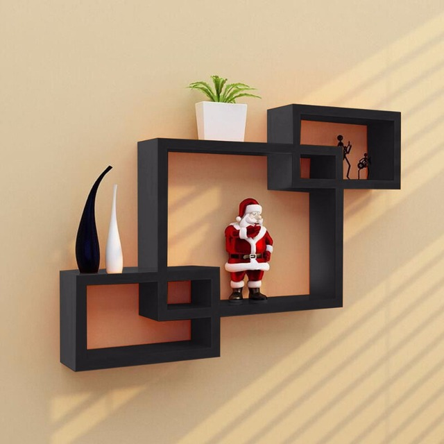 Goplus Black Intersecting 3 Rect Boxe Floating Shelf Wall Mounted