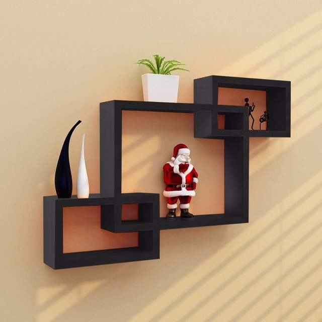 Online Goplus Black Intersecting 3 Rect Boxe Floating Shelf Wall Mounted Home Decor Wood Modern Bookshelf Storage Display Rack Hw53011 Aliexpress