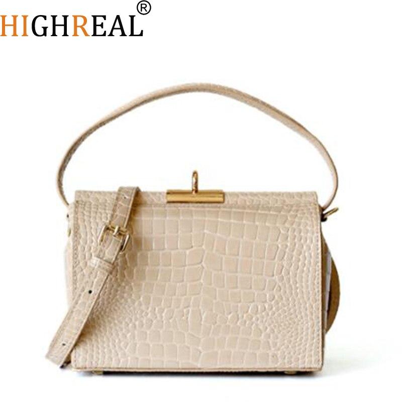 HIGHREAL จระเข้ผู้หญิงกระเป๋าหรูหรากระเป๋าแบรนด์ผู้หญิงออกแบบกระเป๋าถือกระเป๋าหนังแท้ Dropship-ใน กระเป๋าหูหิ้วด้านบน จาก สัมภาระและกระเป๋า บน   1