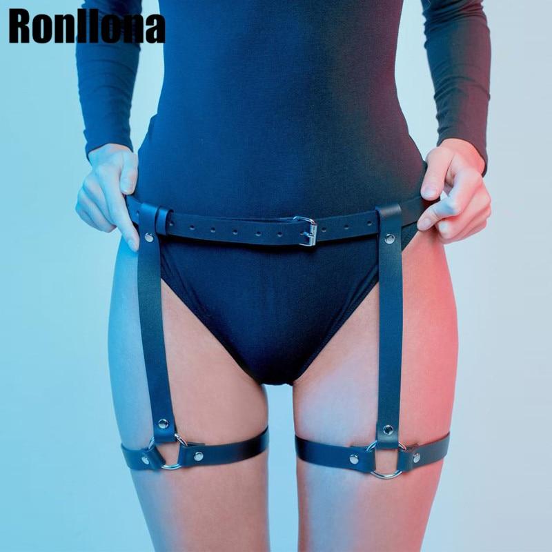 Sexy Harajuku Handmade Leather Punk Goth Garter Belts Leg Ring With 2 Suspenders Straps Leg Harness Lingerie Body Bondage Cage