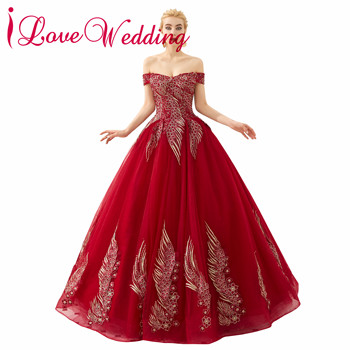 Robe De Soiree 2019 Off the Shoulder Lace Applique Custom made Wine Red Ball Gown Formal Evening Dresses Long